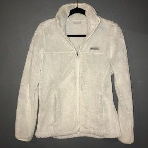 Columbia white zip up furry jacket